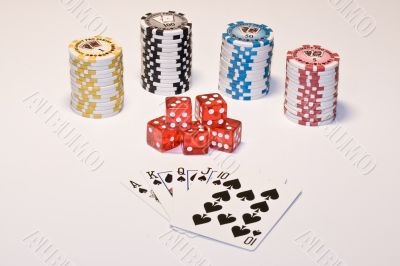 Chips, cards and dice. Gamble.