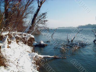 Beautiful winter river landscape