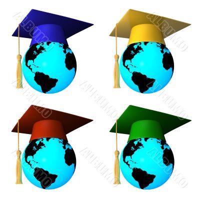 globes with graduation cap