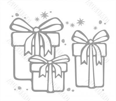 three gift boxes contour