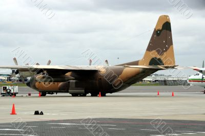 Air Force C-130H at the cargo ramp