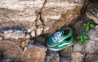 Green tennis shoes