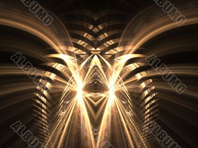Fractal Abstract Background - Golden flowing