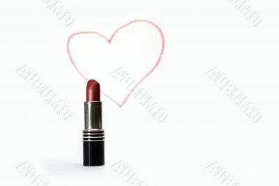 Lipstick and pictured heart