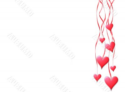 Red hearts hang on tapes