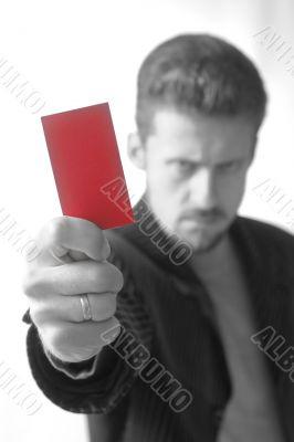 Man showing card