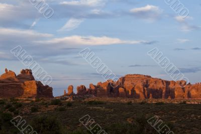 Silent enigma. Sunset in Arches National Park