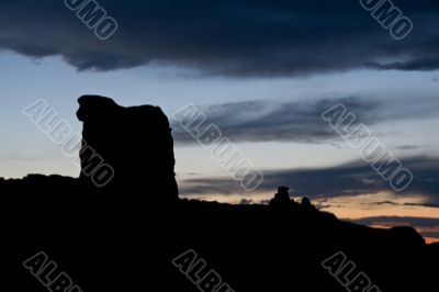 Sheep rock at dusk. Sunset in Arches National Park