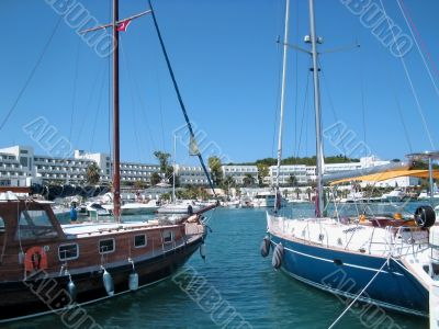 yachts at a nice mediterranean marina