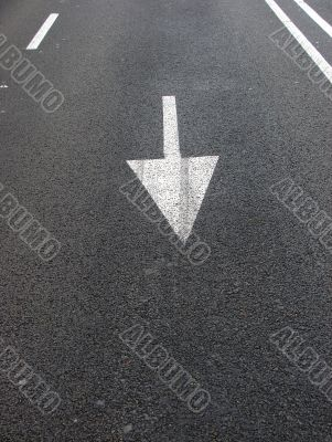 Directional marker on road