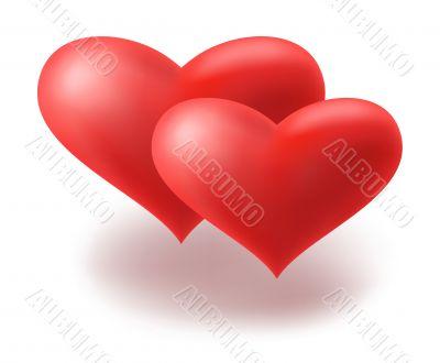 Red hearts. Vector illustration