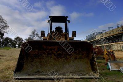 Bulldozer and parking lot construction