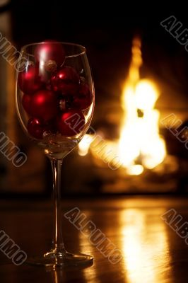 Romantic holiday scene in front of the fireplace
