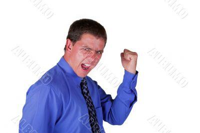 Professional Man Celebrating Clasped Fist