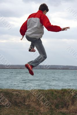 The guy in a jump.