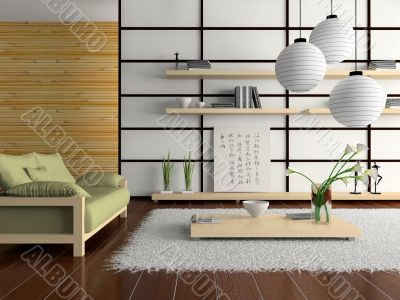 Home interior in japanese style D rendering