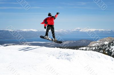 Snowboarder enjoying a view