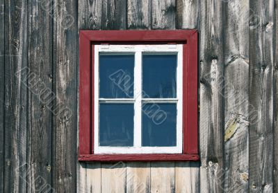 Window of a wooden rustic house