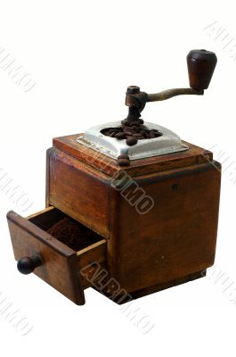 retro coffe-mill with coffee-beans and isolated