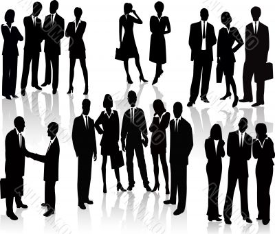 Business People - vector silhouette illustration