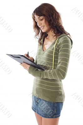 attractive girl writing