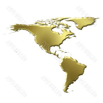 America 3D Golden Map