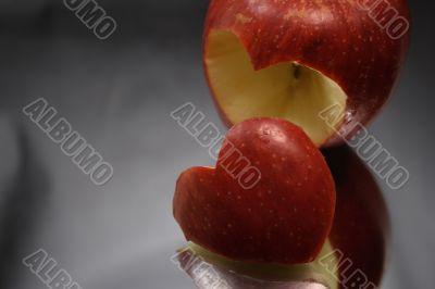 Incised apple heart
