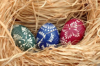 easter eggs in a nest.