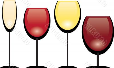 A collection of vector wine glasses