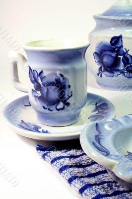 tea-things, Gzhel painting handicraft.