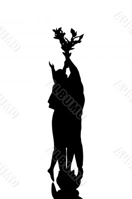 silhouette of dove of peace , men and women