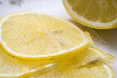 Macro close-up of fresh slices of lemon