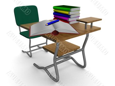 School desk with textbooks and a pencil. 3D image.