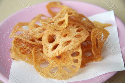 Fried lotus root
