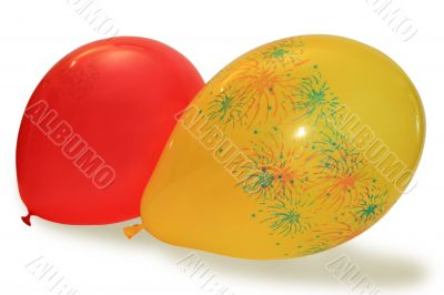 two red and yellow air balloon
