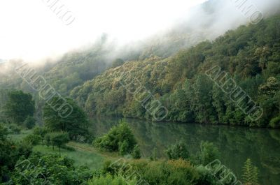 Fog on the river in the Tarn valley