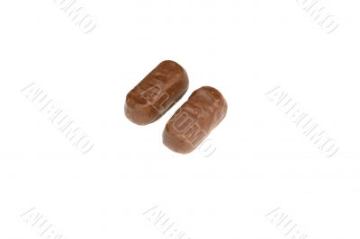 two  chocolate candy with filling