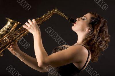 Retro female saxophonist