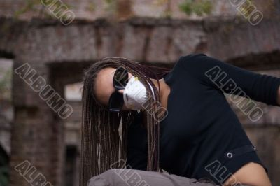 Girl in respirator
