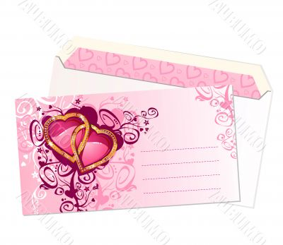 valentine`s postcard and envelope / vector