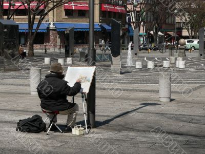street scene with painter