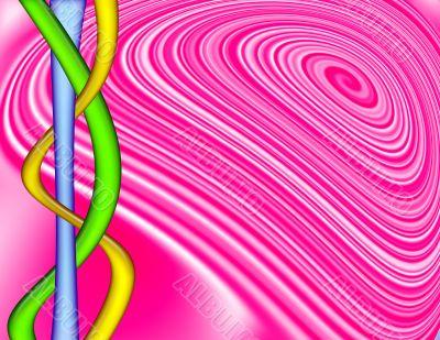 Pink Swirl with Colorful Interlocking Tubes