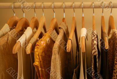 closeup view of earthtoned women`s blouses