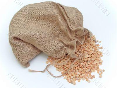 Linen sack of pea