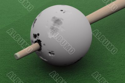 Old billiard ball punched cue. 3D image.