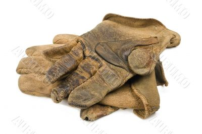 Worn Leather Work Gloves