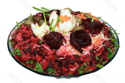 Vinaigrette decorated by a bulb and beet