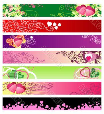 love & hearts website banners / vector / set 1