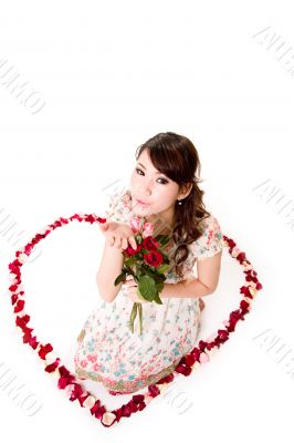 happy valentine girl with roses