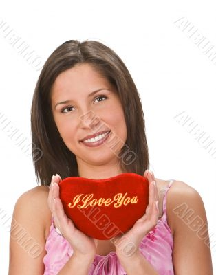 Woman sending a love message
